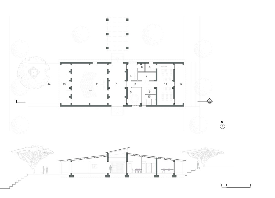 10_Manica Community Centre plan and section